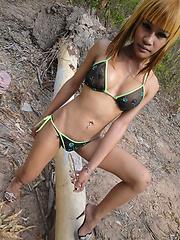 Blond Kathoey girlfriend Not outside in tiny string bikini
