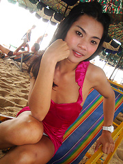 Girlfriend photos of Ladyboy June on beach and butt naked