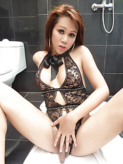 Rimming and panties pulled aside bareback for Ladyboy Tay