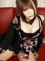 Japanese tranny girl strips and strokes