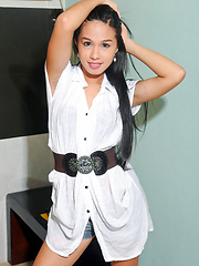 Sexy young ladyboy bares her teen cock