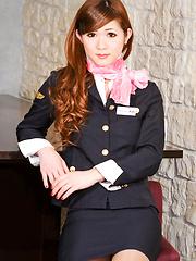 Japanese newhalf superstar in stuardess uniform
