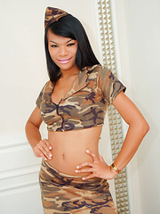 Army bound ladyboy gets one last fuck