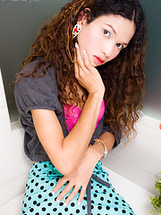 Nokyu is half Thai half Cambodian. She is very skinny and tall, curly hair and no boobs