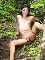 Young and well hung Ladyboy walking naked in a forest