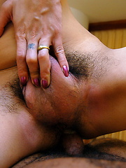 Busty Thai ladyboy Phone shoots her load after being deeply assfucked
