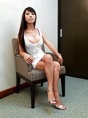 Super slim sexy Thai shemale jerks off