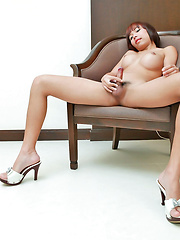 Smooth sexy ladyboy jerks her tasty tool