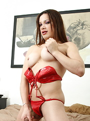 Hot Alejandra strips and jerks