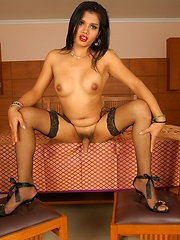 Ladyboys Heaven Natti in black dress striptease