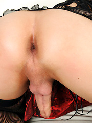Your secret shemale lover strokes her cock for you