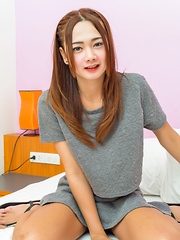 Gorgeous Ladyboy with Hard on Posing for the Camera!