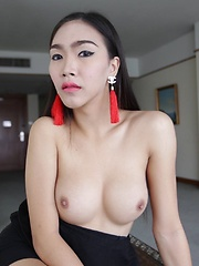 21 year old busty Thai ladyboy with big cock gets a facial