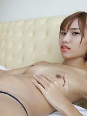 18 year old horny Thai shemale striptease to black panties and hard cock