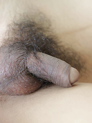 19 year old Thai ladyboy strips down to her hairy cock
