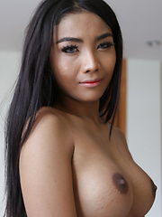 20 year old horny Thai ladyboy gets fucked doggiestyle by white cock