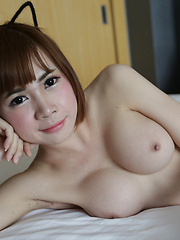 20 year old shy Thai ladyboy gets cum on her big tits