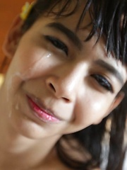 Small-tittied 18 yr old Thai Ladyboy gets huge facial from white tourist
