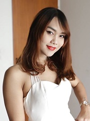 Lovely Thailand ladyboy takes white pipe up the ass